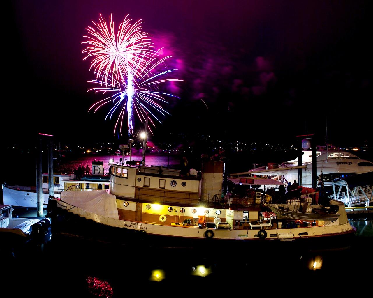 Alaska Pirates Pride (APP) - At night with fireworks