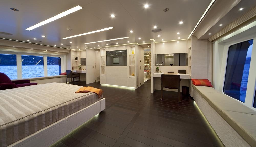 Beautiful master suite aboard BARAKA