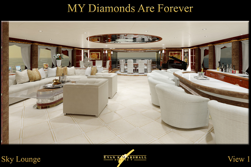 Benetti 61m luxury yacht Diamonds Are Forever Sky Lounge