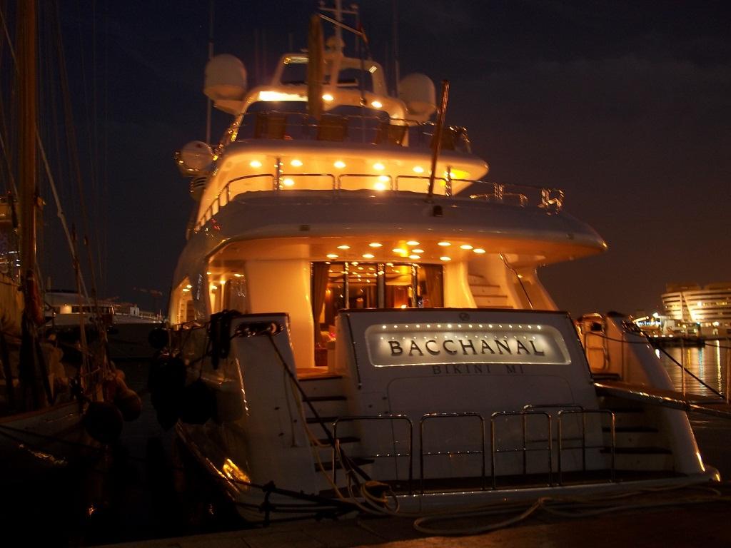 Benetti Yacht BACCHANAL -  Aft View at Night