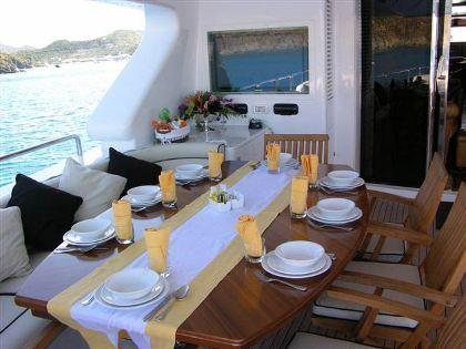 Benetti Yacht BACCHANAL -  Upper Aft Deck Dining