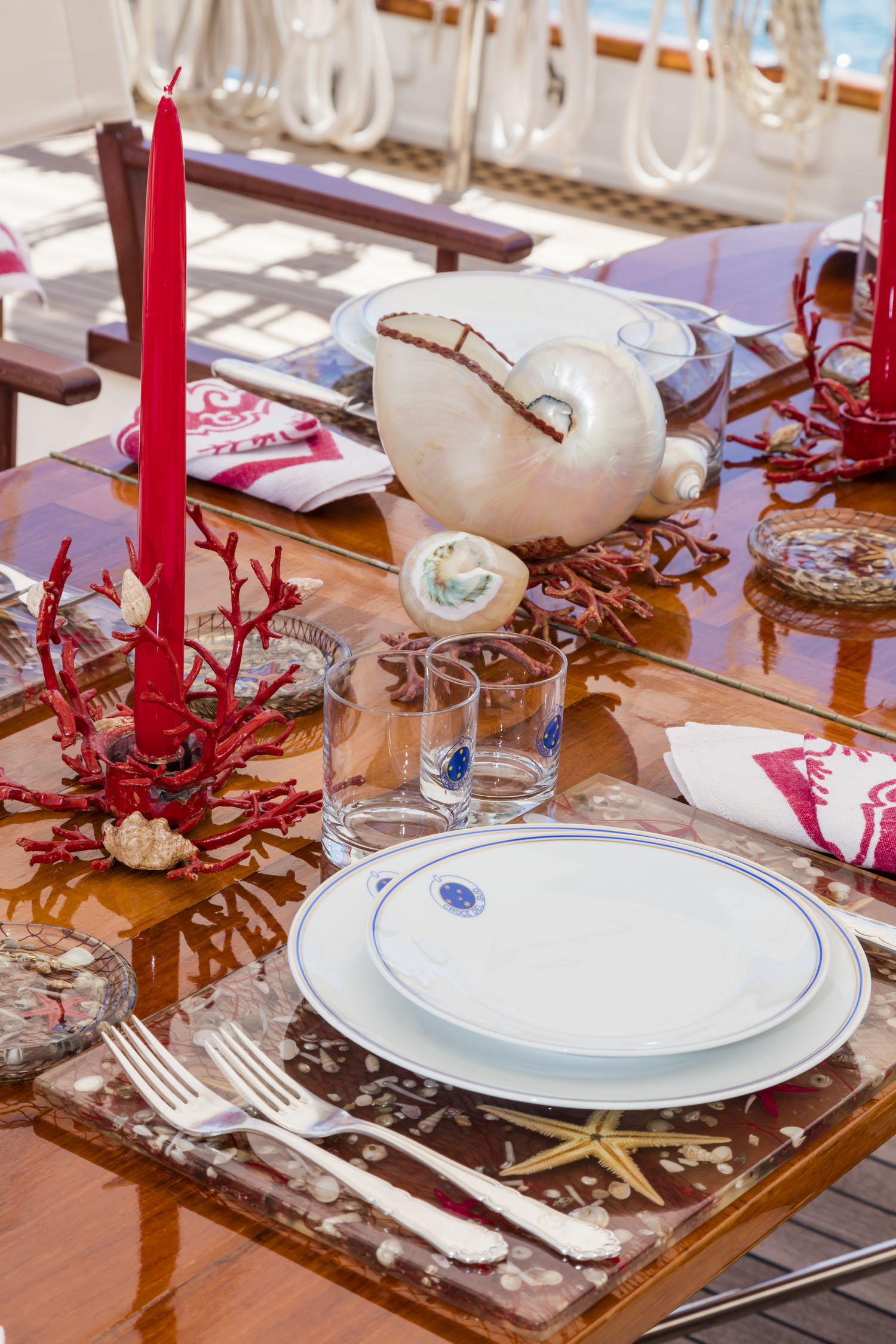 Classic sail yacht CROCE DEL SUD - Table Setting
