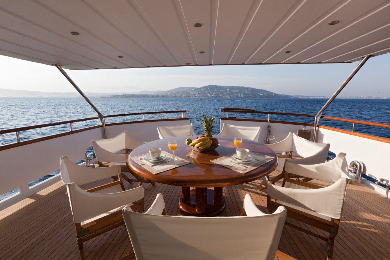 Classic yacht DUNE - Aft Deck Al Fresco Dining