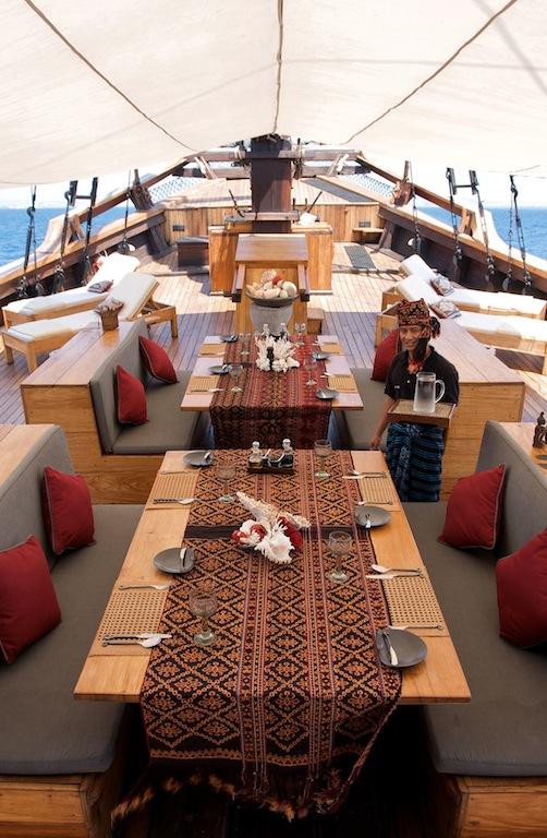 Dining aboard sailing yacht Silolona