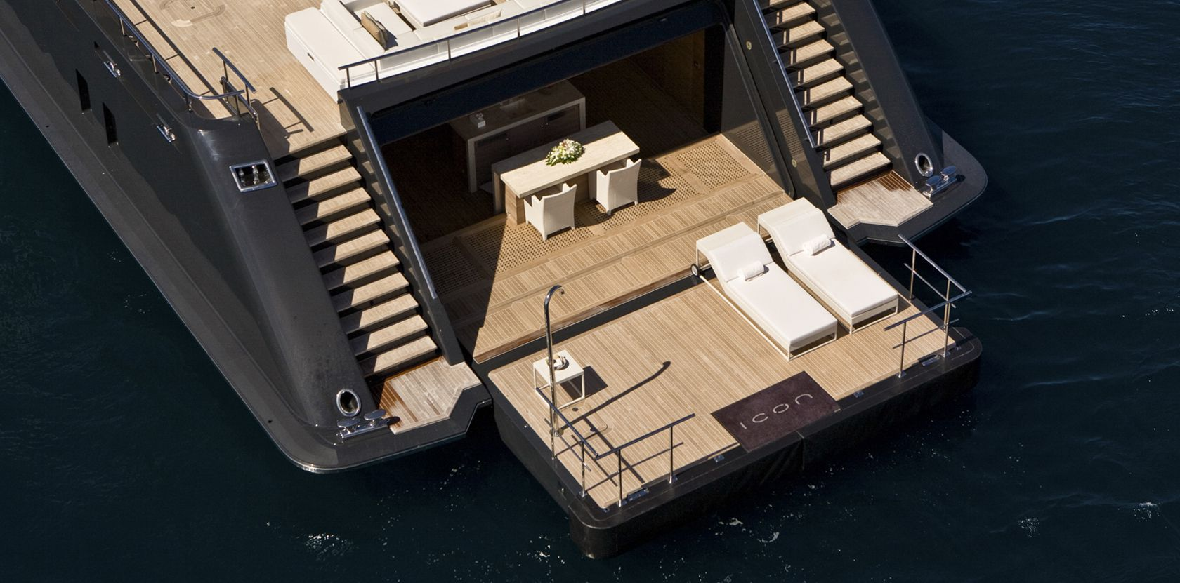 Expansive beach club aboard ICON superyacht