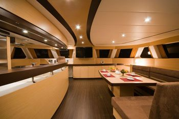 Interior of the Sunreef 70 sailing yacht MUSE catamaran