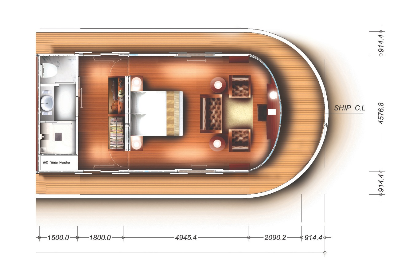 Kalay Pandaw yacht - owners suite floor plan