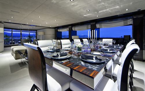 Luxury Charter Yacht MANIFIQ Formal dining Interior by Luca Dini Design