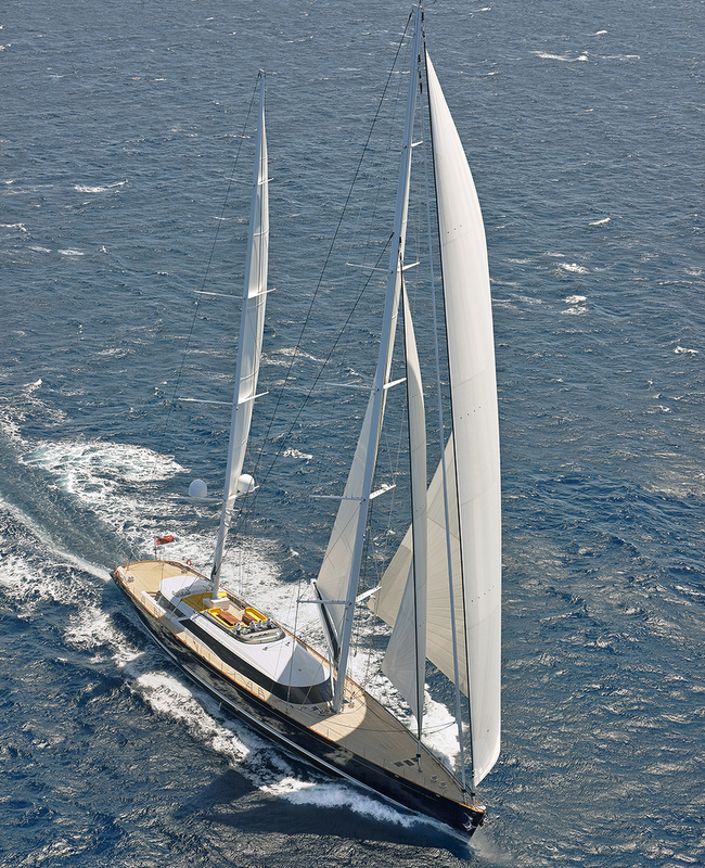 Luxury yacht MONDANGO 3 from above - Image by Chris Lewis