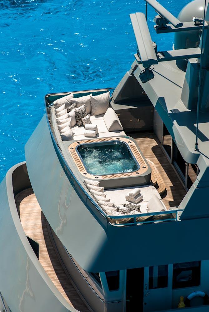 Luxury yacht Plan B - Jacuzzi deck. Photo credit yachtplanb.com