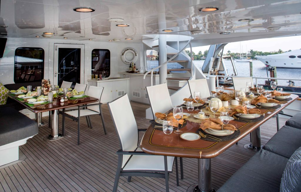 MY WATERCOLOURS - Aft deck dining