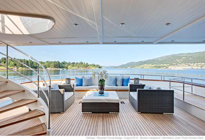 Main Deck Aft - Calliope Yacht designed by Rhoades Young