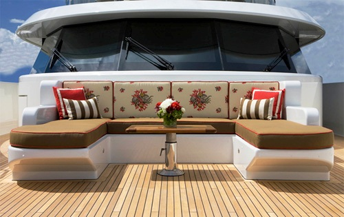 In The Center Of The Aft Deck Are 4 Oversized Chairs With Table. Bow Area:  Wrap Around Decks That .