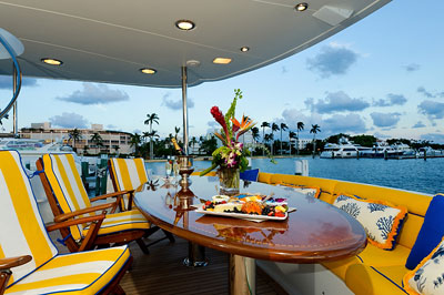 Motor Yacht Secret Spot -  Aft Deck Dining