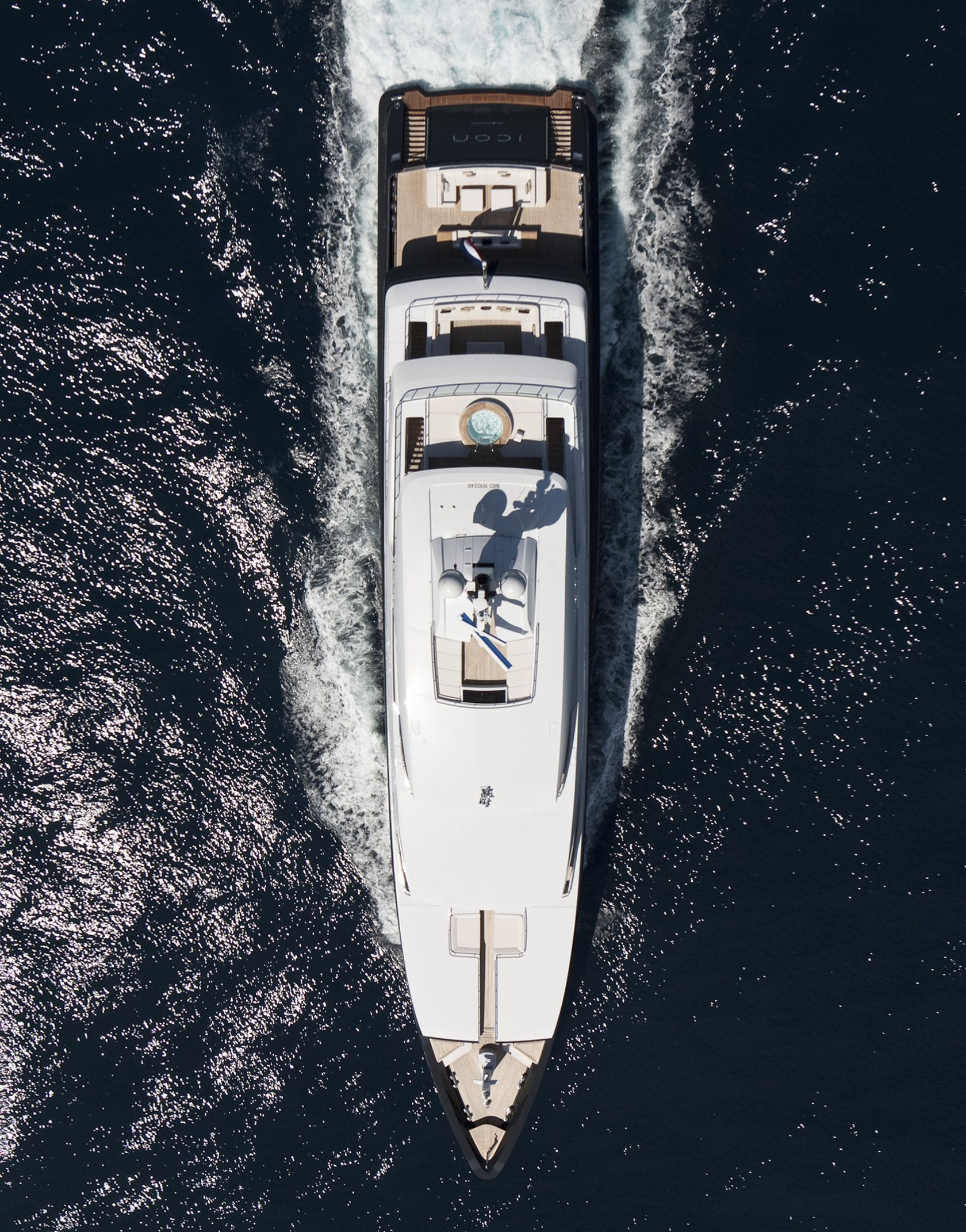 Motor yacht ICON photographed from above - Image credit ICON YACHTS