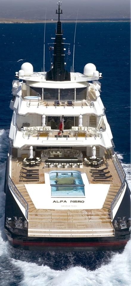 Oceanco Motor Yacht ALFA NERO - From Aft
