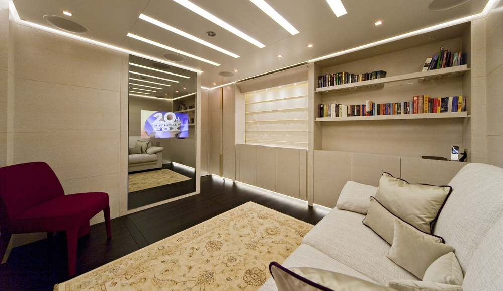 Private saloon with library and tv aboard BARAKA