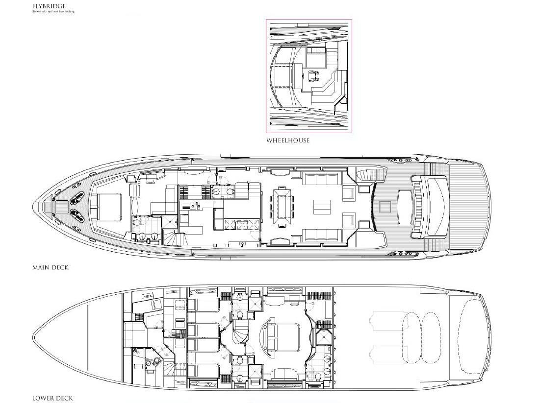 SIMPLE PLEASURE - Deck layout credit Sunseeker Yachts