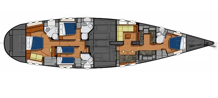 Sail Yacht AIYANA -  Layout