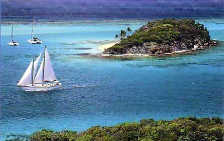 Sail Yacht JAMBALAYA -  Sailing into Tobago-Cay