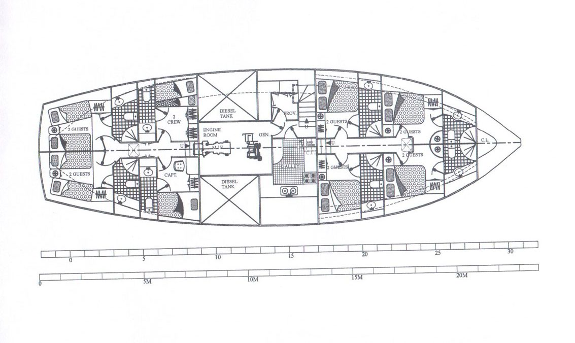 Sailing Gulet MYRA -  Layout