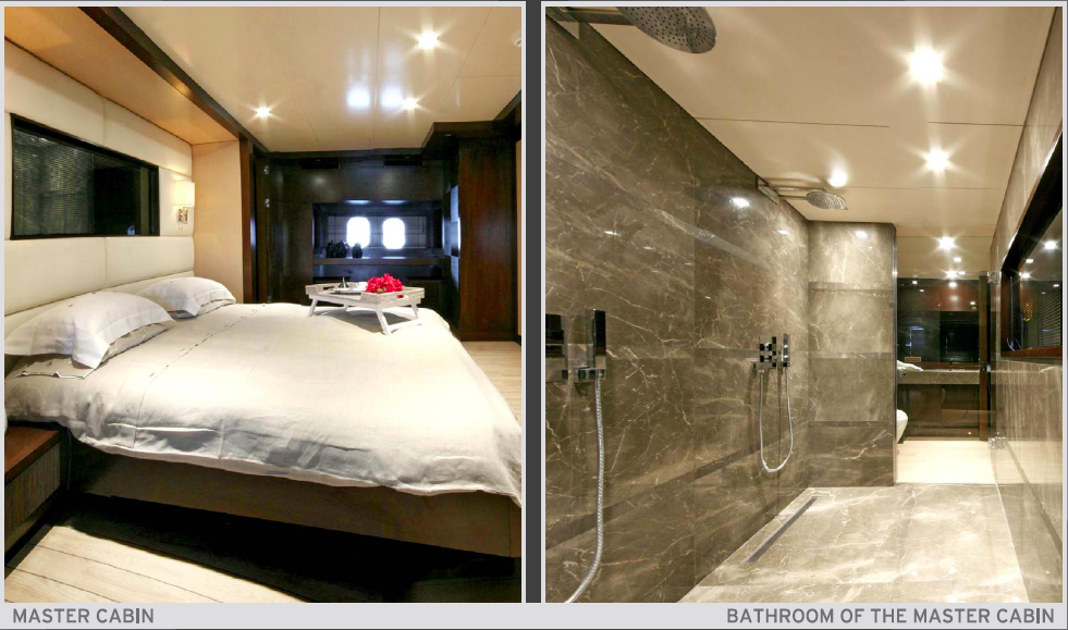 Sailing Yacht Infinity Master Cabin and Bathroom