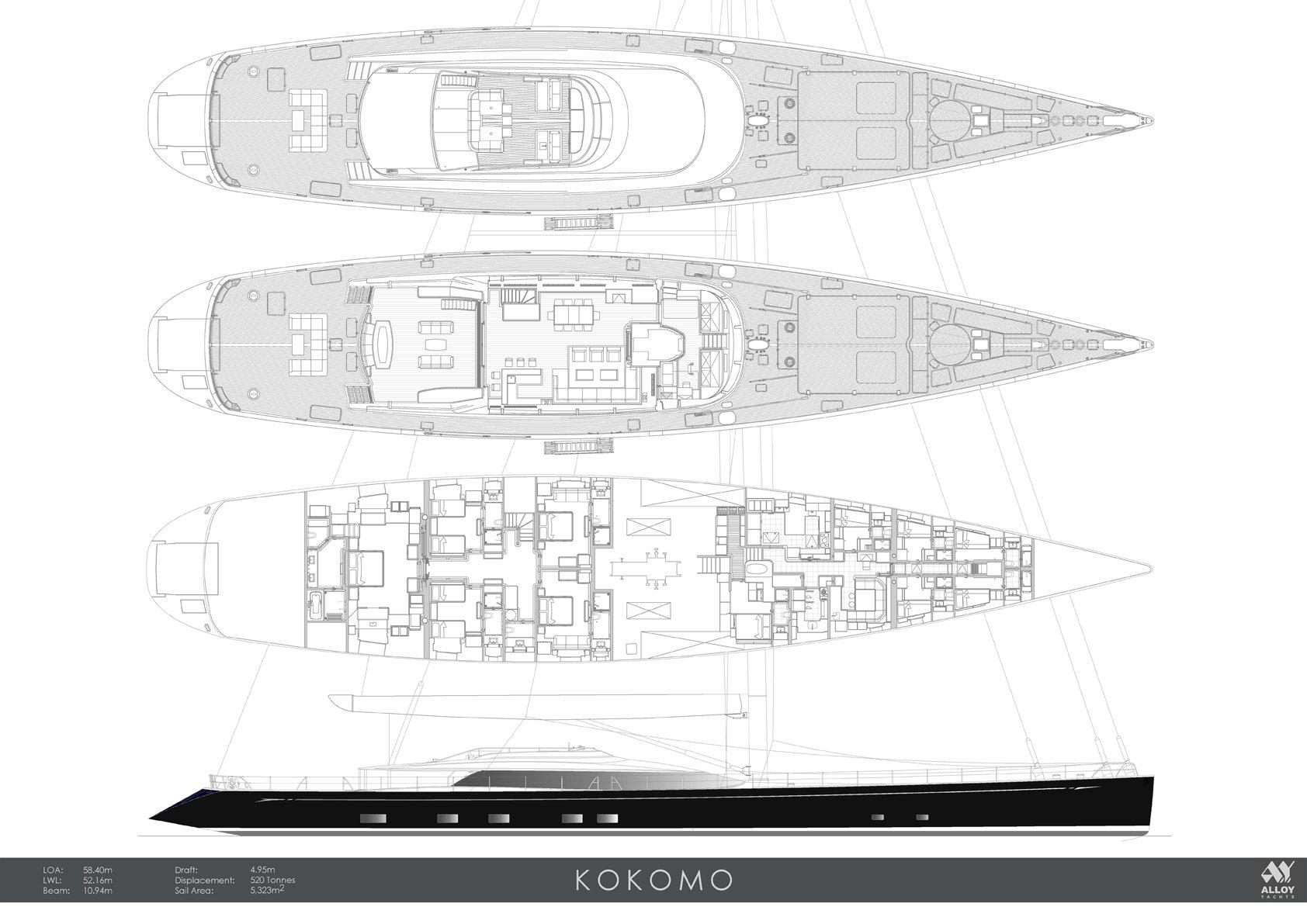 Sailing Yacht Kokomo III - Plans
