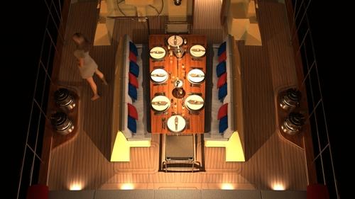 Sailing yacht KESTREL -  On deck dining