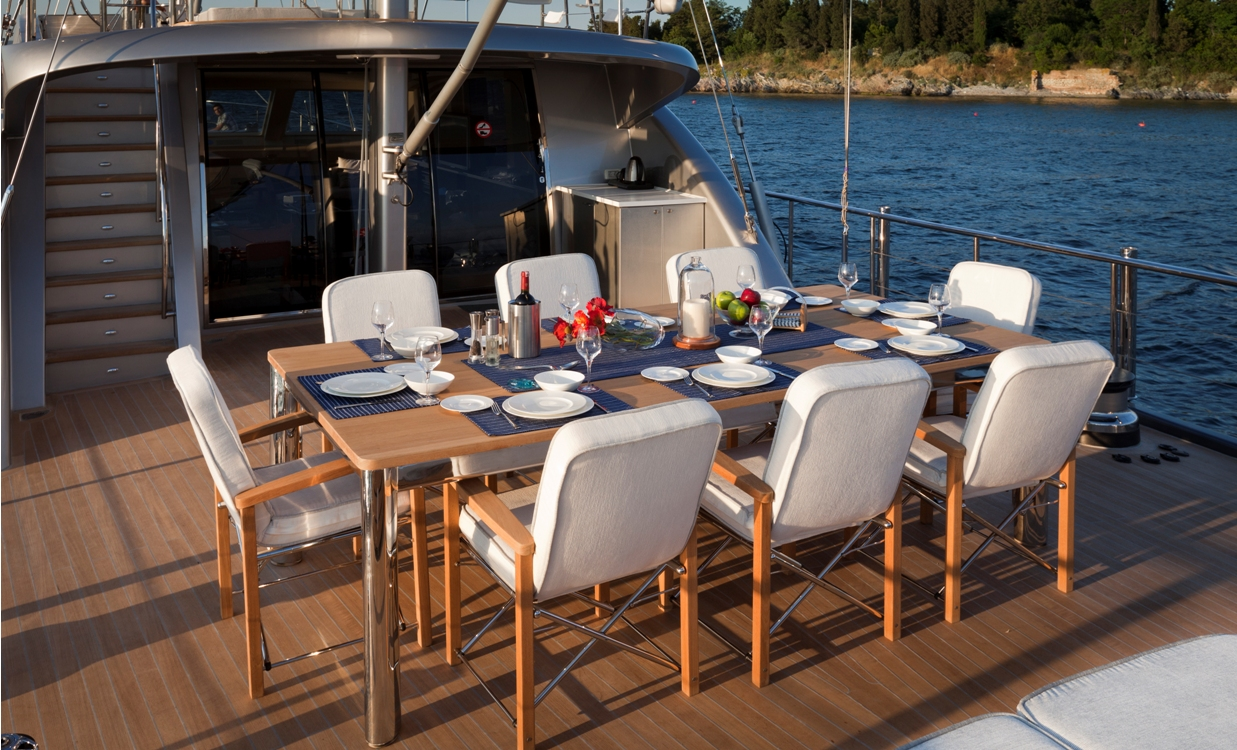 Sailing yacht Merlin -  Aft Deck Dining
