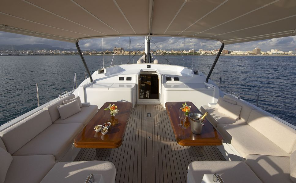 Sailing yacht Nephele -  Deck Seating and bimini during the day