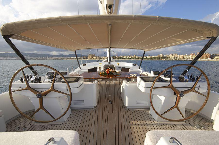 Sailing yacht Nephele -  Helm on deck