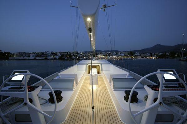Sailing yacht POLYTROPON II -  Cockpit at Night