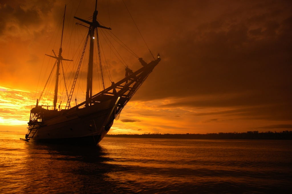 Silolona yacht at Sunset