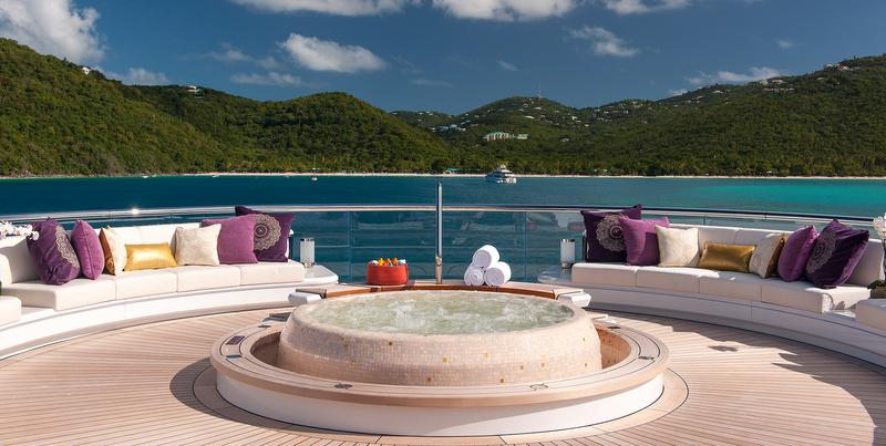 Solandge Yacht - Spa Pool at top deck - Photo by Klaus Jordan