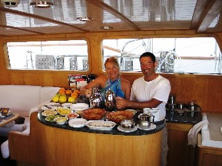 Spirit of the East -  Crew in the Galley