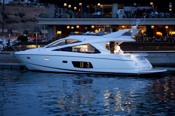 Sunseeker Yacht FAB 2 -  In Port at Night