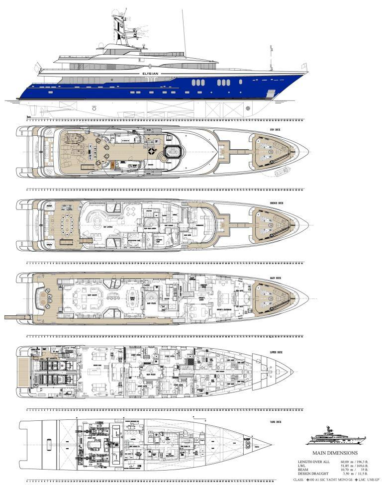Superyacht ELYSIAN - Layout