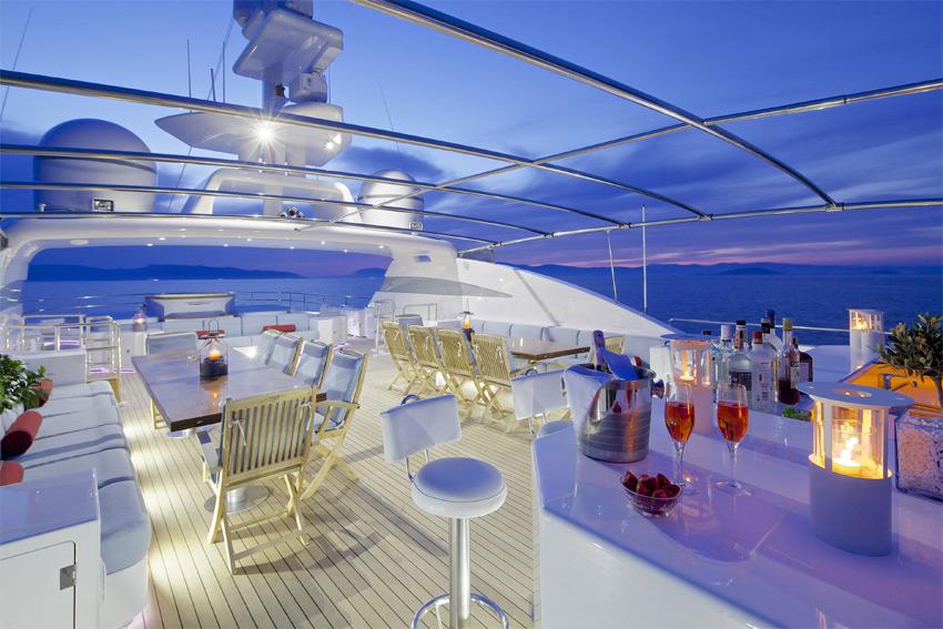 Superyacht OCEANOS -  Sundeck At Night