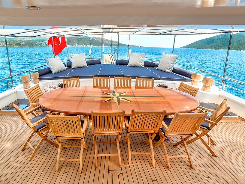 Yacht BELLAMARE - Aft deck Dining