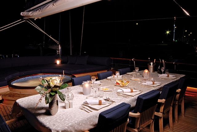 Yacht BLUE EYES -  Aft Deck Dining at Night