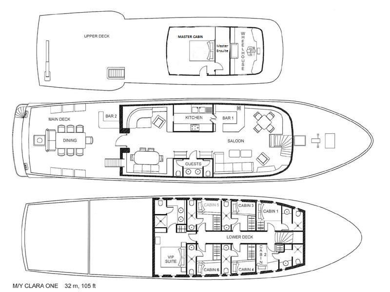 Yacht CLARA ONE - Layout