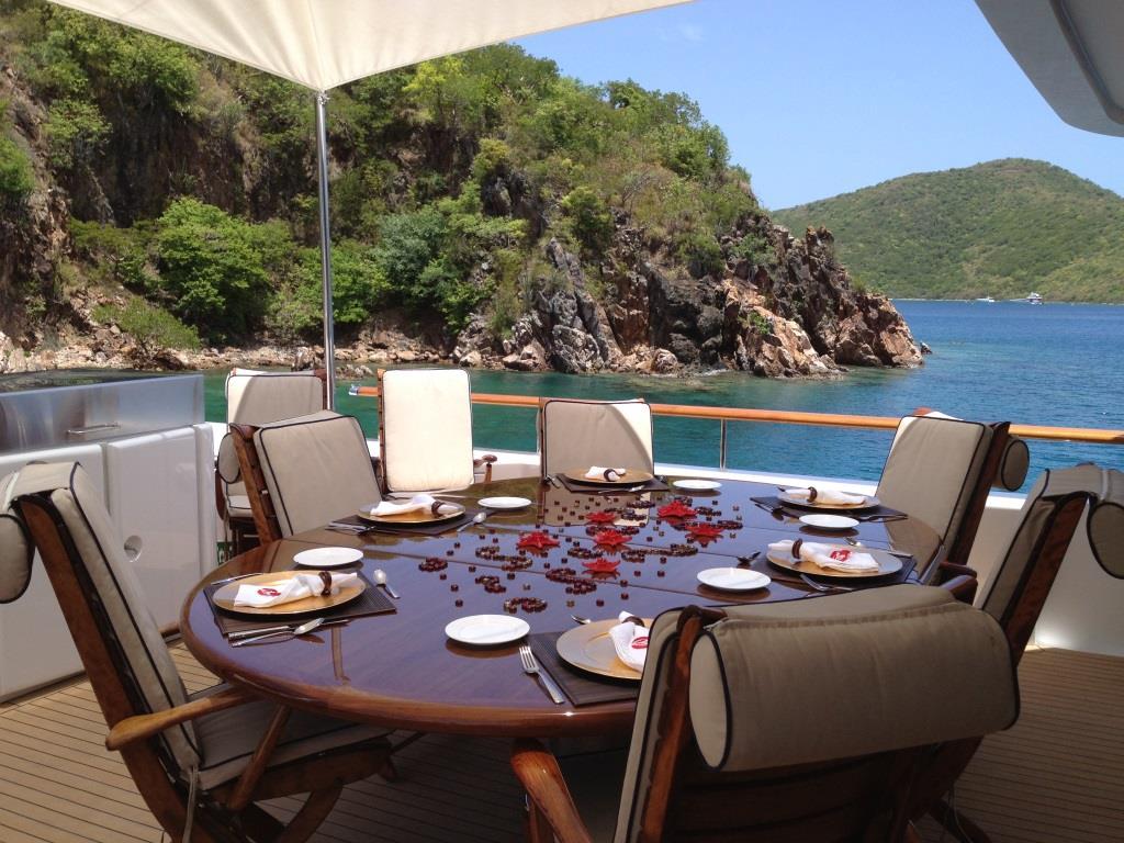 Yacht MONTE CARLO - Upper deck dining