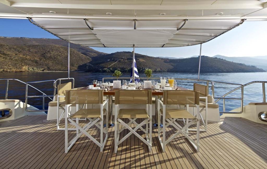 Yacht SANJANA -  Aft Deck Dining