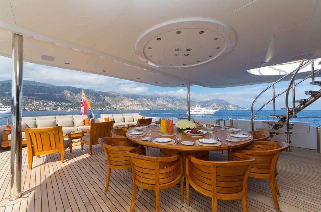 Yacht Troyanda -  Upper Aft Deck Dining Area