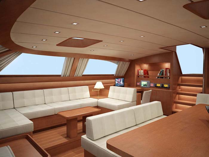 The Baltic 112 Sailing Yacht Nilaya Saloon Interior Design Rendering Yacht Charter