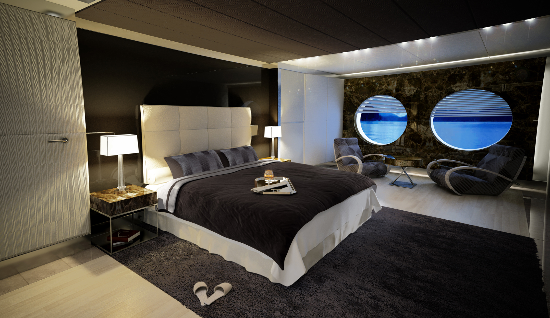 icon 53 superyacht interior design by hot lab owner suite yacht charter superyacht news. Black Bedroom Furniture Sets. Home Design Ideas