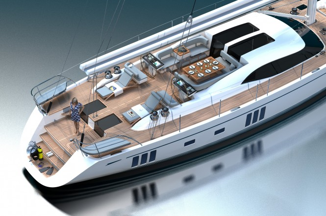 Superyacht Oyster 885 Aft Deck - Photo Credit Oyster Marine