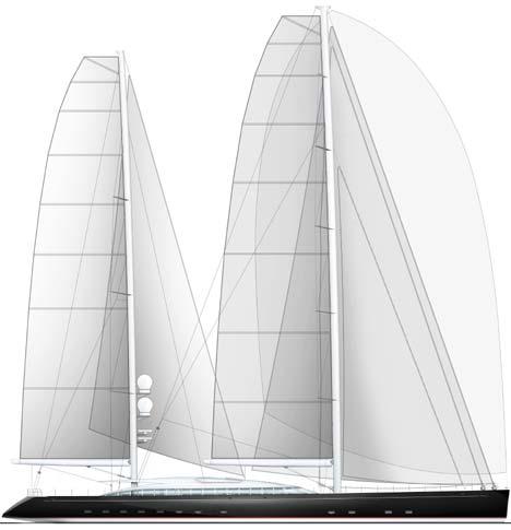 Superyacht Vertigo - The Profile Rendering of the Mighty Ketch Sailing Yacht