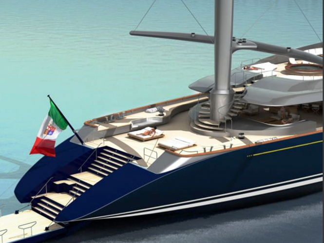 The New Perini Navi 335 ft (102m) Falcon Rig Sailing Superyacht Concept - Aft View