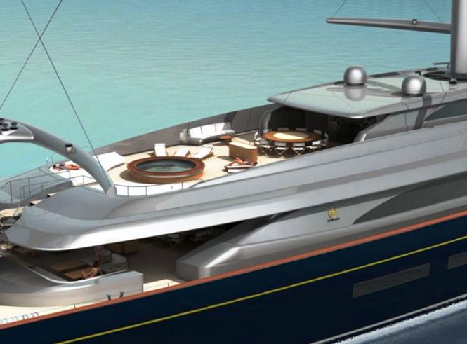 The New Perini Navi 335 ft (102m) Falcon Rig Sailing Superyacht Concept - Midships Fly Sundeck View